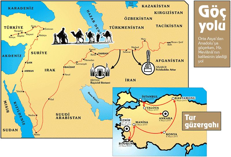 Hz. Mevlânâ'nın Belh'ten Konya'ya gelirken izlediği yol ve Nisan 2007'de düzenlenen, İzmir, Bodrum, Manisa, Konya, Kastamonu, İstanbul, Yalova ve Ankara'yı kapsayan ve Türkiye, Almanya, İsviçre, İspanya, Avusturya ve Şili'den toplam kırk altı kişinin katılımıyla gerçekleştirilen rebab turunun güzergahı.